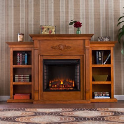 Tennyson Electric Fireplace With Bookcases - Glazed Pine - Exude classiness in your home setting with the Tennyson Electric Fireplace With Bookcases - Glazed Pine. It can accommodate a flat panel TV and has 3 books shelves. An elegant floral design is carved at the top of the fireplace. The firebox features a realistic display of multicolor flames. Easy to install and use, the Tennyson Electric Fireplace With Bookcases - Glazed Pine will bring warmth your home for years!