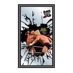 """Trademark Global - WWE Framed Logo Mirror - Reflect on the favorite memories of your favorite wrestlers with this officially licensed framed WWE logo mirror. Authentic artwork is preserved under mirrored glass then bound by a black wrapped wood frame. Post up your passion for the game while assisting your room's appearance with this professional grade logo mirror. Features: -Black wrapped wood frame. -Includes mounted saw tooth hanger. -Officially licensed full color logo artwork. -Mirrored glass accents logo. -Measures: 15"""" H x 27"""" W x 0.75"""" D."""