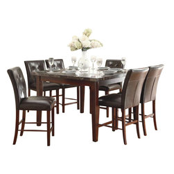 Homelegance - Homelegance Decatur 7-Piece Counter Dining Room Set with Marble Top - The casual Decatur collection is the transitional style that you have been searching for in your dining space. wood legs - in a rich cherry finish - support both the marble tabletop and chair seats. Tufted accenting on the chair back and bench lend, not only, to the design but your comfort, as well, as you sit with family and friends over a casual meal.