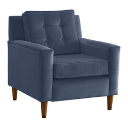 "Skyline Furniture MFG. - Arm Chair - This retro arm chair is a stylish addition to your home. It boasts fashionable upholstery, and features button detailing on the back pillow.  Easy assembly required.  Handmade in the USA.  Spot clean only.  Seat height approximately 19""H."