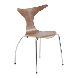 Beverwil Side Chair Walnut/Chrome - Get a little funky with your furniture. With a modern walnut veener seat, this chair has unique, beetlejuice-esque curves that will make for a stylish dining set up. And don't worry, these chairs won't eat your guests.