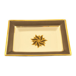 Maison Alma - Gros Grain Key tray, Grey/White/24k Gold - Limoges porcelain Key tray with Gros Grain ribbon design in Dark Grey and Gold detailing.