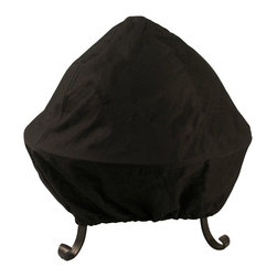 None - 30-inch Black Screened Vinyl Fire Pit Cover - Help protect your fire pit from the elements with this heavy-duty black fire pit cover with folding easy-access screens. This cover is made with double stitched seams and has a double stitched elastic band closure.