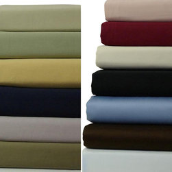 "Bed In A Bag - 21"" Deep Pocket -300TC Solid Egyptian Cotton Luxury Bed Sheet Sets - Come Experience The Finest Egyptian Cotton Sheets! We are one of the only manufactures who use a brand new, advanced weaving technology, which increases the sheets durability, extends the life, and creates a softness like no other!"