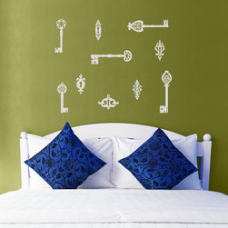Antique Keys Hardware Vinyl Wall Decals - Unlock your creativity with this Antique Skeleton Keys Hardware Vinyl Wall Decal Set from Wallternatives. Mix and match with our Skeleton Keys Vinyl Wall Decal and Vintage Hardware Vinyl Wall Decal.