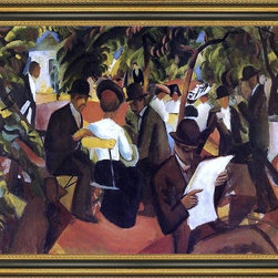 """Art MegaMart - August Macke Garden Restaurant - 16"""" x 20"""" Framed Premium Canvas Print - 16"""" x 20"""" August Macke Garden Restaurant framed premium canvas print reproduced to meet museum quality standards. Our Museum quality canvas prints are produced using high-precision print technology for a more accurate reproduction printed on high quality canvas with fade-resistant, archival inks. Our progressive business model allows us to offer works of art to you at the best wholesale pricing, significantly less than art gallery prices, affordable to all. This artwork is hand stretched onto wooden stretcher bars, then mounted into our 3 3/4"""" wide gold finish frame with black panel by one of our expert framers. Our framed canvas print comes with hardware, ready to hang on your wall.  We present a comprehensive collection of exceptional canvas art reproductions by August Macke."""