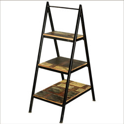 A-Frame Iron Ladder Open Display Shelves Reclaimed Wood Furniture -
