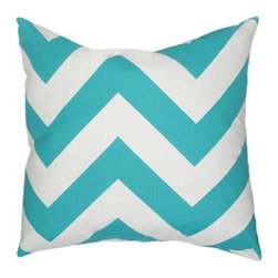 Elisabeth Michael - Elisabeth Michael Chevron Turquoise Throw Pillow - Elisabeth Michael Chevron Turquoise Throw PillowTrendy and hip, the Chevron Turquoise Throw Pillow from Elisabeth Michael is the perfect touch for your lively decor. Oversized chevron stripes make a striking zigzag pattern that packs some punch. The bright-turquoise and white hues create fresh contrast for a geometric-chic look that's ideal for clean, contemporary spaces as well as eclectic-cool rooms. Plus, the soft cotton fabric and feather-down fill provide endless comfort, so you can use this pillow for lazy lounging or comfortable support. Be bold!Feather-down fill