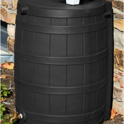 Good Ideas - Rain Wizard 50 Gallon Rain Barrel - When drought sets in and rain is short, rain barrels can provide that precious water you need for your lawn and garden. The Rain Wizard 50 can provide up to 50 gallons of pure, unchlorinated water when municipalities declare periods of low water usage. During heavy rain falls, a typical roof can produce hundreds of gallons of water. By saving that water, you can reduce your average water usage by up to 40%. With those kinds of savings, the Rain Wizard 50 can pay for itself in just a few seasons. The Rain Wizard 50 features an attractive faux design so it naturally fits in with your landscape. Its plastic screen mesh is newly designed to keep out bugs, animals, and debris while still being easy to remove for cleaning and maintenance and is gentle on skin. A front side overflow keeps water from flooding against your outside wall. The flat-back design is one of the most convenient features as it allows your barrel to sit right up against your home so you don't have to worry about purchasing excess downspout parts. Features: -Made of UV resistant resin; will not fade for years.-Linkable to other barrels for increased capacity using separately sold linking kit.-Resistant to rust, mold, mildew, and rotting.-High quality brass spigot for hose hook-up and overflow spout.-Screen to keep out debris, insects, animals, and children.-Capacity: 50 Gallon.-Rain Wizard Collection.-Collection: Rain Wizard.-Distressed: No.-Country of Manufacture: United States.Dimensions: -Dimensions: 31'' H x 23'' W x 22'' D.-Weight: 19 lbs.-Overall Product Weight: 19 lbs.
