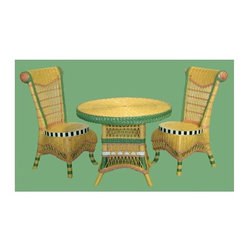 Spice Island Wicker - 3-Pc Child Tea Set in Carousel (Brown) - Includes table and two chairs. Victorian style. Made from wicker. Chair: 15 in. W x 15 in. D x 25 in. H. Table: 23 in. Dia. x 18 in. H (30 lbs.)