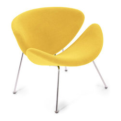 Easy Chair,  Lysergic Yellow Fabric - Based on Pierre Paulin's classic Orange Slice chair from 1960, Modernica's Easy Chair is equally streamlined and modern in design — and this bright yellow version would be like sitting in a buttercup.