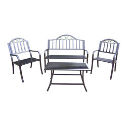 Oakland Living - Oakland Living Rochester 4-Piece Seating Set in Hammer Tone Bronze - Oakland Living - Patio Bistro Sets - 6123383061304HB - About This Product: