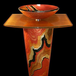 Coyote Glass Design - Copper River Glass Pedestal - Copper River vessel and pedestal with matching solid countertop. Pedestal is handcarved and backpainted with copper metal inlay.