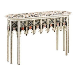 "Currey and Company - Shangri La Console Table by Currey and Company - Treasures from the sea are in abundance with the Shangri La Console Table by Currey and Company. An array of various shells are assembled, creating a majestic design. Gothic shaped arches artistically border the lower edge of the apron. Every surface inch is consumed by repeating detailed and colorful patterns. You do not need a coastal home for this outstanding console table to blend into your space. What a stunning accent piece for your entryway! (CR) 51"" wide x 18"" deep x 34"" high"