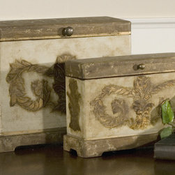 Scotty, Boxes, S/2 - Plantation grown mango wood with aged ivory hand painted details.