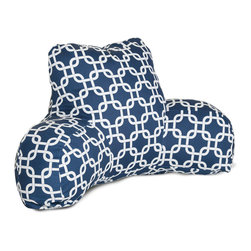 Majestic Home - Outdoor Navy Blue Links Reading Pillow - If you've ever had one of these backrest pillows, you know there's nothing quite like them for sitting up comfortably in bed with your book or your breakfast. This one is not only particularly cute with its colorful modern print, but it's outdoor treated so that you can actually use it out on the lawn or by the pool. And if you spill your coffee or cocktail, don't worry: The cover is removable for easy cleaning.