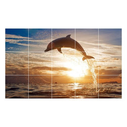 Picture-Tiles, LLC - Dolphin Photo Kitchen Bathroom Tile Mural  18 x 30 - * Dolphin Photo Kitchen Bathroom Tile Mural 1455