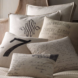 "French Laundry Home - French Laundry Home ""Vintage Post Card"" Pillow - No doubt about it—these pillows have character. Each is made in the USA of a linen/cotton blend and plumped with feathers and down. By French Laundry. Dry clean. ""French Words"" pillow, 22""Sq. ""Vintage Letter"" Pillow, 18""Sq. ""Lucky Number 7"" Pill..."