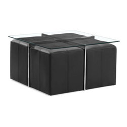 Zuo Modern - Botero Coffee Table Set Clear Glass - This Botero Coffee Table Set is a smart option for the smaller contemporary living space. Four padded black leatherette stools nest neatly below the table when not in use. It's the perfect coffee table set to compliment any living room.