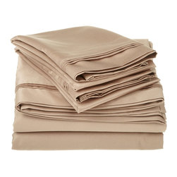 1200 Thread Count Egyptian Cotton King Taupe Solid Sheet Set - 1200 Thread Count oversized King Taupe Solid Sheet Set 100% Egyptian Cotton