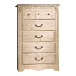 Standard Furniture - Standard Seville 5-Drawer Chest in Old Fashioned Finish - Standard Furniture - Chests - 6405 - Celebrating the beauty of European design the Seville Five Drawer Chest has decorative touches such carved detailing a scalloped apron and faux granite top that add visual interest and texture. With an understated elegance it will give your decor casually chic feel.