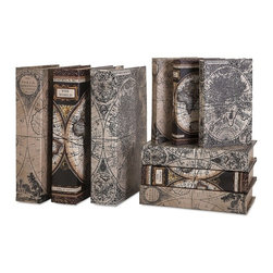 "IMAX - Mason Map Book Boxes - Set of 9 - A map of the world: Leather-look antique maps cover a set of nine, complementary book boxes. Dimensions(1.25-2-3""h x 5.75-6.75-8.75""w x 8.50-10.25-13"")"