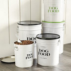 "Ballard Designs - Bon Chien Food Canister - 22 Lb - Made of molded steel. Lithographed design. Double handles for easy carrying. Metal scoop included. Bon Chien is French for ""good dog."" And when it comes to dry dog food storage, this handsome canister is all about good taste. Designed to hold a standard 22-lb bag, the tight fitting lid helps keep food dry and fresh.Bon Chien Pet Food Canister features:. . . ."