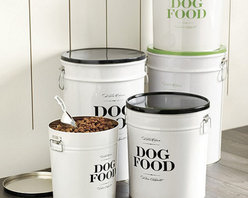 """Ballard Designs - Bon Chien Food Canister - 22 Lb - Made of molded steel. Lithographed design. Double handles for easy carrying. Metal scoop included. Bon Chien is French for """"good dog."""" And when it comes to dry dog food storage, this handsome canister is all about good taste. Designed to hold a standard 22-lb bag, the tight fitting lid helps keep food dry and fresh.Bon Chien Pet Food Canister features:. . . ."""