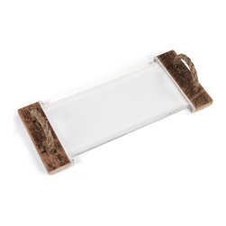Zentique - Curved Acrylic Serving Board - The Curved Acrylic Serving Board features a curved acrylic board with handcrafted wooden handles with rope detail. Handles will vary.