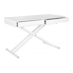 Safavieh - Radford Adjustable Desk - The multi-functional, height-adjustable white lacquer Radford desk, with two roomy drawers, pulls double duty as a coffee table when space dictates or the need arises. Refined lines and glossy white crossed legs make a dramatic contemporary statement.