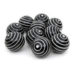 """Oriental Furniture - 3"""" White Stripes Porcelain Ball Set - A stylish accent for display as a centerpiece or in a cabinet, this set of ten porcelain balls is a great way to add interest to your home decor. Featuring bold white stripes on black backgrounds, these spheres add a modern decorative touch to the room and make a great gift. Woven rattan display basket is not included."""