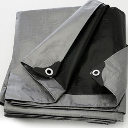 None - Heavy Duty Silver/Black Tarp Tarpaulin Canopy Cover - Protect your boat, RV, or pool with this heavy duty canopy cover. This cover resists rot, mold, and mildew, so it will protect your outdoor toys in the heaviest rains. Featuring sturdy grommets, this cover is easy to tie down for added protection.