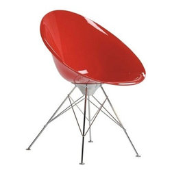 Kartell - Eros Chair, Legs, Opaque Red - Designed by Philippe Starck.