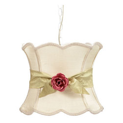 Jubilee Collection - Pendant Light with Ivory XL Hourglass Shade, Green Sash and Pink Rose Magnet - - Pendant Light with Ivory XL Hourglass Shade, Green Sash and Pink Rose Magnet Jubilee Collection - 78000-5101-702-MG2002