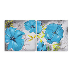 Poppy Blues Hand Painted 2 Piece Canvas Set - The allure of blue poppies with a pleasing splash of yellow foliage lends an air of introspection to the wall this two-piece set adorns. Hand painted by a single artist using acrylics and canvas, this rendering of modern flowers arrives ready to hang and likely to hypnotize.