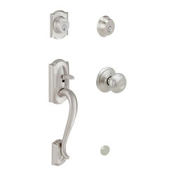 Schlage - Schlage Camelot Handleset w/ Georgian Interior Knob - Double Cylinder in Satin N - Handleset w/ Georgian Interior Knob - Double Cylinder in Satin Nickel belongs to Camelot Collection by Schlage The Camelot front entry features an exterior design with graceful crown and waterfall grip that will bring nostalgia and charm to your home. The interior Georgian knob design features classically inspired details for timeless appeal. The warm silver tones of Satin Nickel complement light and dark wood grains in addition to a broad spectrum of colors. Schlage has built a legacy of providing the highest level of security to homes and businesses. Install a Schlage, and you install nearly a century of total dedication to security, quality and innovation.  Handleset w/ Knob & Cylinder (1)
