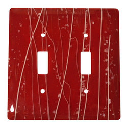 """Aquila Art Glass - Double Wall Plate Switch, White Mardi Gras on Red, 5x5 - To make a Wall Plates, two pieces of glass are cut, cleaned, stacked together and placed into a kiln. The kiln goes up to 1450 degrees Fahrenheit, and then the glass becomes molten and fuses together to make one piece of glass. The glass goes into a waterjet and the plate is cut out. Then, when the glass is placed onto a mold and taken to 1300 degrees Fahrenheit, the glass becomes elastic and gravity pulls the glass over the mold. We call this process slumping. The glass spends about 48 hours in the kilns. Expect slight variations in color & size. Aquila Art Glass is proud to say """"Our Glass Products are handcrafted in Portland Oregon using high quality handmade materials made in the USA."""""""