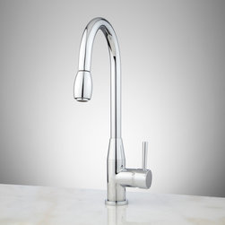 Cosimo Single-Hole Pull-Down Kitchen Faucet - Easily reach all areas of your sink with the Cosimo Kitchen Faucet in beautiful Brushed Nickel. This solid brass kitchen faucet features a pull-down spray.