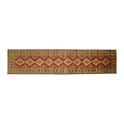 Manhattan Rugs - New Tribal Super Kazak Hand Knotted Wool Runner 3x12 Rust Red Oriental Rug H5005 - Kazak (Kazakh, Kasak, Gazakh, Qazax). The most used spelling today is Qazax but rug people use Kazak so I generally do as well.The areas known as Kazakstan, Chechenya and Shirvan respectively are situated north of Iran and Afghanistan and to the east of the Caspian sea and are all new Soviet republics. These rugs are woven by settled Armenians as well as nomadic Kurds, Georgians, Azerbaijanis and Lurs. Many of the people of Turkoman origin fled to Pakistan when the Russians invaded Afghanistan and most of the rugs are woven close to Peshawar on the Afghan-Pakistan border.There are many design influences and consequently a large variety of motifs of various medallions, diamonds, latch-hooked zig-zags and other geometric shapes. However, it is the wonderful colours used with rich reds, blues, yellows and greens which make them stand out from other rugs. The ability of the Caucasian weaver to use dramatic colours and patterns is unequalled in the rug weaving world. Very hard-wearing rugs as well as being very collectable