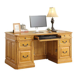 Golden Oak - Cambria 66 in. Executive Desk in Oak Finish - Keyboard tray with drop down face. Crown molding. Drawers with full extensions and glides for smooth operation. 66 in. W x 30 in. D x 31 in. H (633 lbs.)
