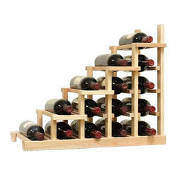 Wine Cellar Innovations - Waterfall 1 Falling Left Vintner Series in Prime Mahogany, Classic Mahogany - The Vintner Series WATERFALL1 Display provides the perfect showcase for the prized wine bottles you would like to show off. Individual bottle wine storage cascades down with a waterfall of display bottles on top. This waterfall option is compatible with the Vintner 5 column individual rack and can be combined with the WATERFALL2 and WATERFALL3 to create a larger cascade. You can have a waterfall display come out from a wall to the center of a room for a dramatic display effect. You may also choose to line a waterfall wine display along a wall. To achieve this unique look, we have a single bottle deep option that we have designed both in a left and right falling option. Product requires assembly. Moldings and platforms sold separately. Assembly required.