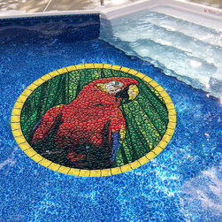 Frontgate - Parrot Pool Mat - Brightly colored, realistic 3D mosaic appearance. UV ray and pool chemical-resistant. Durable and long lasting. Must be used on a flat, smooth surface. Resists curling, warping, underwater shifting and sliding. Beautiful yet durable, this artistic mat adds a timeless look to your pool with it's tiled mosaic design. Cleverly engineered with a heavier vinyl than others, it uses gravity and water pressure to stay in place. This means it can be easily removed, and doesn't require the use of messy adhesives. Simply place it on the pool water's surface, let it sink to the bottom then flatten as necessary. Peel off for removal. For routine pool cleaning, it doesn't need to be moved.  .  .  .  .  . 100% USA-made .