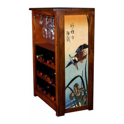 "Kelsey's Collection, Inc. - Hiroshige Wine Cabinet Kingfisher And Lilies - Pine Wine Cabinet  stores wine and glassware with famous artwork by Ukiyoye artist Aldo Hiroshige giclee-printed on canvas side panels. The art is giclee printed on canvas with three coats of UV inhibitor to protect against the sunlight and thereby extend the longevity of the art. The canvas is then glued onto panels and inserted into the frames. Kelsey's Wine Cabinet showcases and stores wine and glassware with solid radiata pine construction. Famous artwork is giclee-printed on canvas side panels which provide a unique decorating touch of art that enhances the product and reflects your home-decor style.  The frame, top, and racks are solid New Zealand radiata pine with a hand stained and hand rubbed rubbed medium reddish brown finish, that is then protected with a  lacquer coat and top coat.. Kelseys Collection is where ""Great Art & Function Meet""  This model is also referred to as the Jessica model. Dimensions are 33 by 22 by 12 deep.  Holds 15 wine bottles and full sized wine glasses.  Some assembly required."