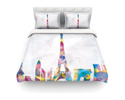 """Kess InHouse - Mareike Boehmer """"Paris"""" City Rainbow Cotton Duvet Cover (Queen, 88"""" x 88"""") - Rest in comfort among this artistically inclined cotton blend duvet cover. This duvet cover is as light as a feather! You will be sure to be the envy of all of your guests with this aesthetically pleasing duvet. We highly recommend washing this as many times as you like as this material will not fade or lose comfort. Cotton blended, this duvet cover is not only beautiful and artistic but can be used year round with a duvet insert! Add our cotton shams to make your bed complete and looking stylish and artistic! Pillowcases not included."""