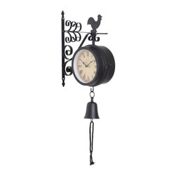 None - Metal Outdoor Clock - This weatherproof outdoor wall clock creates a rural environment. With the rooster and bell added to this design, the whole clock seems more attractive. Made with iron, this clock is durable and resilient. This piece is battery functioned.