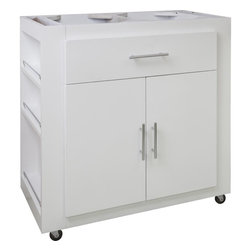 "Hardware Resources - Elements Kitchen Island in Painted White (ISL500-WH) - This 34"" x 18 3/4"" x 35"" island is manufactured out of MDF. This small island features one working drawer and a large cabinet with adjustable shelf. The drawer is equipped with full extension slides and the cabinet hinges have a softclose assembly. Soft rubber casters included. The included decorative hardware can be found in the Elements Naples Collection (176 and 156)."