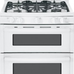 """GE - JGB850DEFWW 30"""" Double Oven Gas Range with Electronic Touchpad Oven Controls  Re - The LE JGB850 30 in 68 cu ft Double Oven Gas Range with Self-Cleaning ovens in Stainless Steel provides that large capacity that is ideal for big meals A 17000 BTU Power Boil burner delivers intense heat for fast boiling The Center oval burner is ide..."""