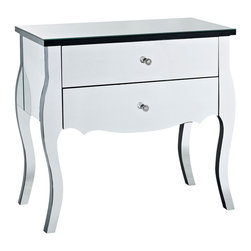 Powell - Powell Mirrored 2-Drawer Console - The mirrored two drawer console is a unique and glamorous addition to your home. Perfect for adding to a bedroom, hallway or entry, the console will add function and style to any space. Two deep drawers provide ample interior storage space, while the wide top is perfect for displaying flowers, photos and more. The mirrored surfaces will help bounce light around making your space look and feel brighter and bigger.