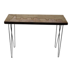 Urban Wood Goods - Chicago Reclaimed Wood Console Table - American Beauty: This console table is crafted of reclaimed wood from century-old buildings in the Midwest, and etched with the skyline of Chicago. Appropriate to that city, it all sits atop midcentury-modern-style hairpin steel legs and stands ready to serve you in your entryway, living room or kitchen.
