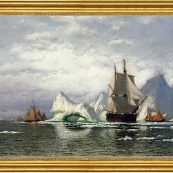 """William Bradford-16""""x24"""" Framed Canvas - 16"""" x 24"""" William Bradford Arctic Whaler Homeward Bound Among the Icebergs framed premium canvas print reproduced to meet museum quality standards. Our museum quality canvas prints are produced using high-precision print technology for a more accurate reproduction printed on high quality canvas with fade-resistant, archival inks. Our progressive business model allows us to offer works of art to you at the best wholesale pricing, significantly less than art gallery prices, affordable to all. This artwork is hand stretched onto wooden stretcher bars, then mounted into our 3"""" wide gold finish frame with black panel by one of our expert framers. Our framed canvas print comes with hardware, ready to hang on your wall.  We present a comprehensive collection of exceptional canvas art reproductions by William Bradford."""